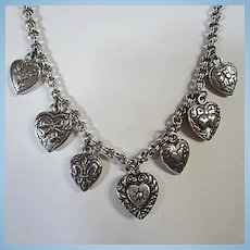 Fabulous Seven Puffy Hearts Sterling Silver Double Rolo Chain Vintage Necklace