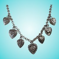 Fabulous Seven Puffy Hearts Sterling Silver Double Rolo Chain Necklace