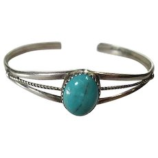 Native American Southwestern Gorgeous Sleeping Beauty Turquoise Sterling Silver Vintage Hand Made Cuff Bracelet