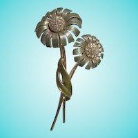 BSK Double Flowers Long Stem Enamel AB Brooch
