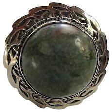 Fabulous Taxco Sterling Silver Unakite Stone Elaborate Bezel Setting Vintage Ring