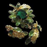 Stunning Emerald Green Huge faceted Oval Swarovski Crystal Brooch Earrings Set