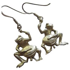 Whimsical Frogs Sterling Silver Signed  French Hook Earrings