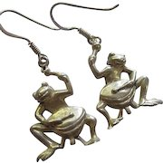 Whimsical Sterling Silver Frogs with Drums Signed Vintage French Hook Earrings
