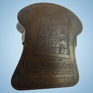 Antique Advertising Brass Clip Francis Brothers and Company Investment Securities Signed General Etching Mfg Chicago Vintage Desk Accessory