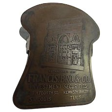 Antique Advertising Brass Clip Francis Brothers Co Investment Securities Chicago  Desk Accessory