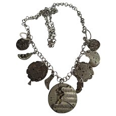 Vintage Watch Parts Components Upcycled Silver tone Necklace