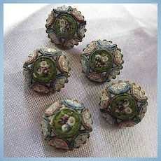 Antique Micro Mosaic Italy Set of Five Grand Tour Brass Buttons Set