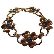 Coro Lucky Four Leaf Clover Shamrock Cornflower Blue Swarovski Rhinestone Bracelet
