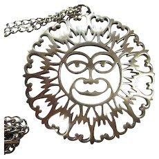 Unique Signed R&B Pewter Sun Face  Vintage Pendant Necklace