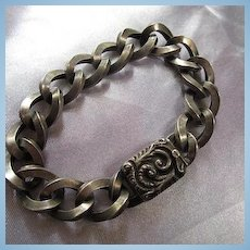 Wonderful Older Fancy Clasp Sterling Silver Twisted Link Vintage Bracelet