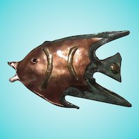 Mid Century Artist Hand Made Copper Fish Vintage Brooch Pin