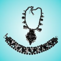 Gorgeous Demi Parure Black Glass and Clear Austrian Crystal Rhinestone Vintage Necklace and Bracelet