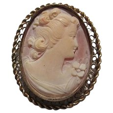 Gorgeous Large Carved Shell Cameo Bezel Set Gold Filled Filigree Braided Frame Vintage Brooch Pendant Pin