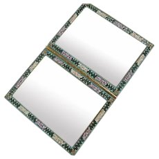 Beautiful Micro Mosaic Vintage Double Picture Vintage Frame Signed Italy