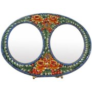 Gorgeous Mosaic Tesserae Tile Double Oval Vintage Picture Frame