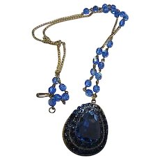 Stunning Czech Huge Cornflower Blue fx Sapphire Austrian Crystal Tiered Pendant Blue AB Crystal Gold tone chain Vintage Necklace