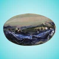 Signed Hand Made Artist Ceramic Seascape Vintage Brooch Pin