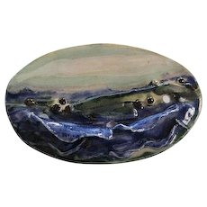 Signed Hand Made Artist Ceramic Seascape Vintage Brooch Pin