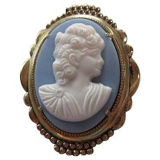 Lovely Blue White Cameo Pretty Oval Frame Victorian Style Vintage Brooch Pin