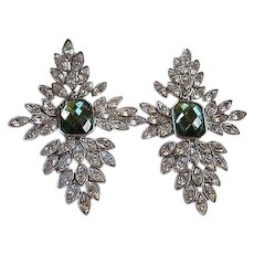 Stunning Signed Arnold Scaasi Bold Statement Couture Runway Emerald Crystal Vintage Clip Earrings