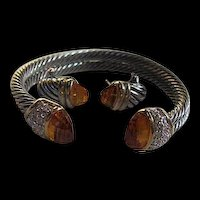 Double Cable Faceted Citrine Glass Pave Rhinestones Cuff Matching Earrings Vintage Set Bracelet Earrings