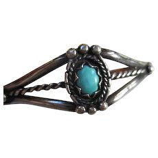 Native American Sleeping Beauty Turquoise Sterling Silver Vintage Cuff Bracelet Maiden Sized