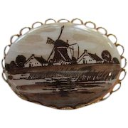 Lovely Sepia tone Hand Painted Windmill Dutch Flemish Scene Porcelain Vintage Brooch Pin