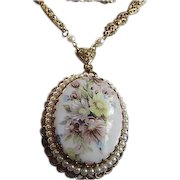 Beautiful Signed Germany Large Floral Pendant fx Pearl Scalloped Frame Elaborate Y Chain Vintage Necklace