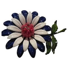 Red White Blue Flower Power Enamel 1960s Brooch