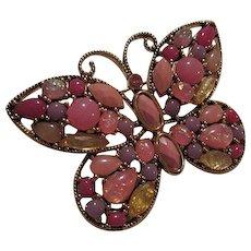 Beautiful Pink Art Glass Butterfly Figural Vintage Brooch Pin