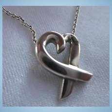 Tiffany & Co Authentic Signed Paloma Picasso Loving Heart Pendant Sterling Silver  Designer Necklace