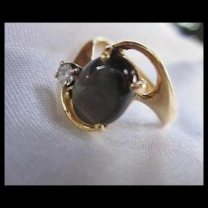 Lovely 14K Gold Genuine Brown Sapphire Diamond Mid Century Modernist Ring