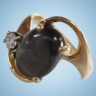 Lovely 14K Gold Genuine Brown Sapphire Diamond Mid Century Modernist Design Vintage Ring Size 6