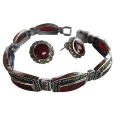 Gorgeous Carnelian Marcasite Sterling Silver Bracelet Pierced Earrings  Set