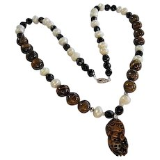 Fabulous Carved Tiger Eye Foo Dog Pendant Strung on Pearl, Tiger Eye Black Faceted Glass Vintage Hand Made Necklace Sterling Silver Clasp