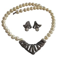 Beautiful fx Pearl Marcasite Necklace Matching Clip Earrings Vintage Set