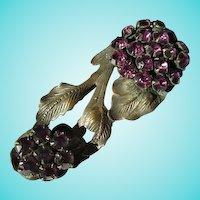 Art Nouveau Deep Purple Amethyst Faceted Glass  Dress Clip