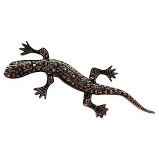 Wonderful Older Lizard Gecko Salamander Figural Sterling Silver Brooch