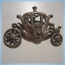 Signed Magnificent Cinderella Carriage  Sterling Silver Articulated Vintage Brooch Pin