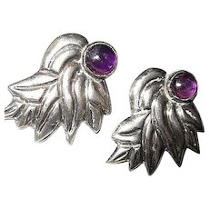 Signed Walter Lampl Taxco Sterling Silver Genuine Amethyst Cabochon Vintage Screw Back Earrings