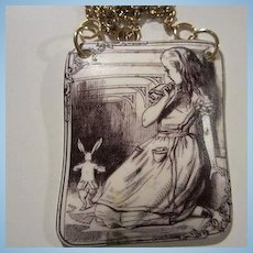 Alice in Wonderland Sepia Etched Pendant Vermeil Vintage Necklace OAK
