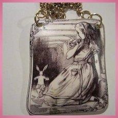 Alice in Wonderland Sepia Etched Pendant Vermeil Vintage Necklace OAK