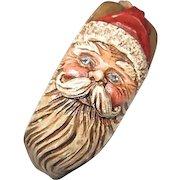 Rare Signed Carved  Santa Claus Holly Unique Folk Art Vintage Bangle Bracelet