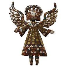 Bob Mackie Signed Vivid Mosaic Guardian Angel Vintage Brooch Pin.