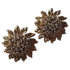 Oscar De La Renta Couture Signed AB Crystal Domed Flower Clip Earrings