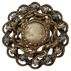 Goldette Signed Carved Shell Cameo fx Pearls Turquoise Vintage Brooch Pin