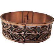 Renoir Signed 1950s Mid Century Design Copper Vintage Bangle Bracelet