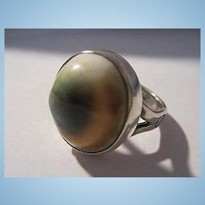 Native American Hand Made Operculum Sterling Silver Vintage Ring