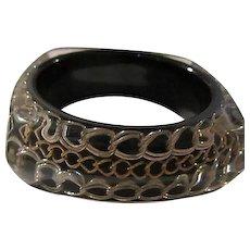 Mod Thick Lucite Triple Chain Statement 1960s Vintage Bangle Bracelet